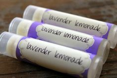 .15 oz Lip Balm Labels Lavender Lemonade Lip Balm.  Make your own custom labels.