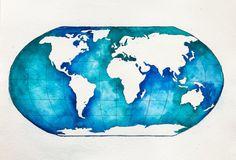 Original World Map Watercolor Painting Globe by NiksPaintGallery