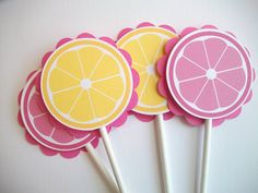 Pink Lemonade Cupcake Toppers Set of 12 by oliviagpaperie on Etsy Second Birthday Ideas, Baby First Birthday, 1st Birthday Parties, Kid Parties, Pink Lemonade Cupcakes, Pink Lemonade Party, Lemon Party, Sunshine Birthday, Party Themes