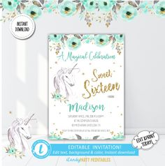 Unicorn 16th Birthday Invite,  Sweet Sixteen, Floral Unicorn Invite, Unicorn Head Invite, Gold Unicorn Invite, Templett, Instant Download by iCandyPartyPrintable on Etsy