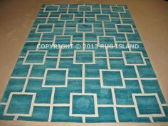 "5x8 (5' x 7'6"") Thick Contemporary Modern Geometric Aqua Teal Blue Area Rug #Modern"