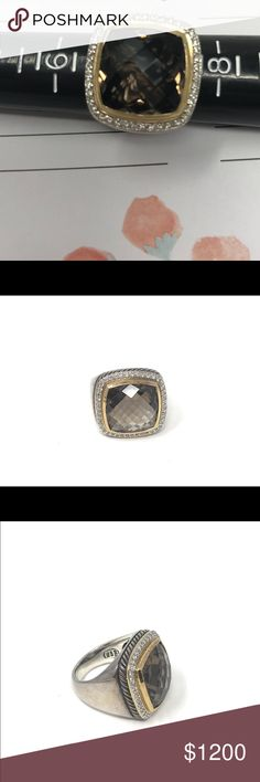 David Yurman Smokey Topaz Ring Size 7 Gold and Silver Size 7 Smokey Topaz with Diamonds David Yurman Ring David Yurman Jewelry Rings