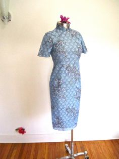M L 60s Cheongsam Hand Painted Floral Blue Lace by LikewiseVintage