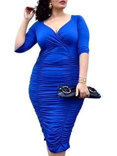 Womens Plus Size Deep V Neck Wrap Ruched Waisted Bodycon Dress a550de7db377