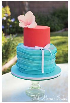Turquoise and pink birthday cake Hot Mama's Cakes