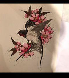 Body Art Tattoos, Hand Tattoos, Sleeve Tattoos, Tattoo Sketches, Tattoo Drawings, Swallow Bird Tattoos, Tattoo Bird, Desenho New School, Vogel Tattoo