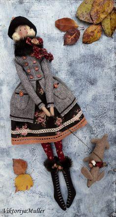 Купить кукла тильда ручной работы ДАМА С СОБАЧКОЙ - коричневый, бордовый