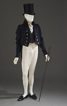 Tailcoat 1830, British, Made of wool, silk, and velvet