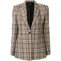 Theory plaid blazer ($704) ❤ liked on Polyvore featuring outerwear, jackets, blazers, brown, tartan blazer, tartan jacket, theory blazer, plaid jacket and blazer jacket