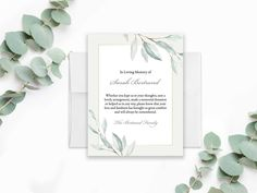 Funeral Acknowledgement Card Template Sympathy Thank You Note Funeral Cards Memorial Service Funeral Printable Template or Printed Leaves