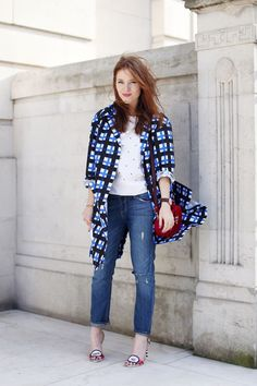 Casual in denim and a white top. In London Weekend Style, Mix, Lucinda 1dfb3473d2