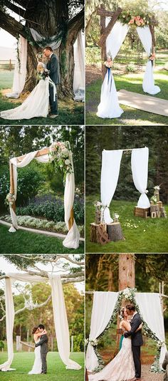 elegant and romantic rustic country wedding arbor,altar and arch ideas