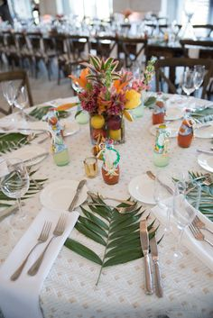 Fun and fresh island themed wedding #centerpieces in our Grand Ocean Terrace! Love! #wedding #reception