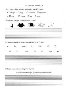 2.o.szótagolás felmérésre gyakorló: 1.old. Grammar, Sheet Music, Literature, Activities, Writing, School, Pray, Literatura, Music Score