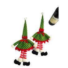 New Polka Dot Sacos de Tampa de Garrafa de Vinho Para O Natal Acessórios de Decoração faca garfo pauzinhos talheres Partido Papai Noel(China)