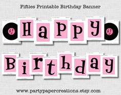 Party Printables - Grease Fifties Birthday Party Printable Decor - 1950s Theme Party, 50s Theme Parties, Fifties Party, Retro Party, Elvis Birthday Party, Fifty Birthday, 10th Birthday Parties, Birthday Party Themes, Retro Birthday
