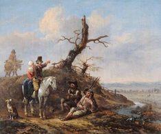 Jan Wijnants - Landschap met rustende reizigers en een stel op een paard