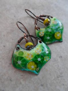 Shamrock ... Artisan-Made Enameled Copper Czech Glass and