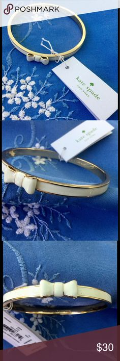 """NWT kate spade ♠️ White Bangle Bracelet Measures 2 1/2"""" in diameter. Brand new with tags. kate spade Jewelry Bracelets"""