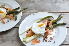 asparagus and smoked salmon and crisp almond crumbs.