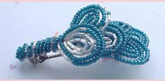French Beaded Hair Clip Blue and Silver by CataleyaHandcrafts