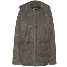 Yeezy Cotton Parka Coat (Season 1) ($1,385) ❤ liked on Polyvore featuring outerwear, coats, jackets, coats & jackets, multicoloured, camouflage coat, camo coat, colorful coat, multi colored coat and cotton parka