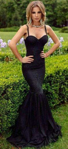 ac020261862 Spaghetti straps long prom dress mermaid lace black sleeveless evening dress