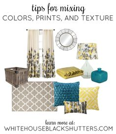 Tips for mixing #colors, #prints, and #textures in a room space, and how to easily change stuff out without spending a fortune!