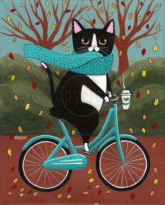 Fat Tuxedo Cat on a Bicycle with Coffee Original Cat Folk Art Painting - Herbst . I Love Cats, Crazy Cats, Animal Gato, Photo Chat, Bicycle Art, Here Kitty Kitty, Hello Autumn, Cat Drawing, Whimsical Art