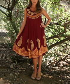 Look what I found on #zulily! Burgundy & Gold Paisley Sleeveless Swing Dress by Ananda's Collection #zulilyfinds