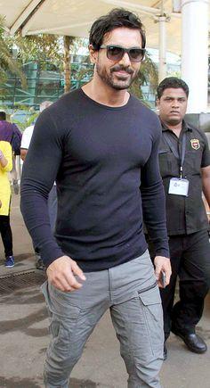 John Abraham spotted at the Mumbai airport.