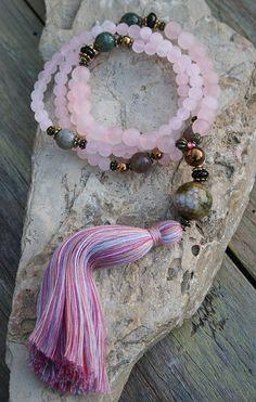Beautiful frosted quartz gemstone mala necklace