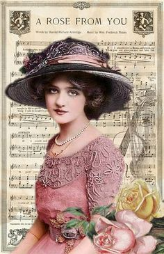 Vintage Lady Hat Pink Collage Roses R