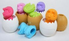 Dinosaur Egg Japanese Eraser, 6 Pack. Assorted Colors. by PencilThings. $6.00. YELLOW INSTEAD OF GREEN ONLY AVAILABLE.. blue, pink, dark pink, orange, yellow, purple dinosaur colors in white or brown eggs.. Each set of erasers contains 2 pieces, the dinosaur baby and opened egg, both are pencil-toppers.. Mix and match colors to create your own unique colors.  The take-apart function only works with erasers with more than one color.
