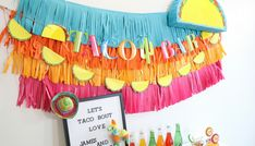 let's taco bout love engagement fiesta backdrop Baby Shower Game Prizes, Diy Wedding Projects, Classroom Inspiration, 2nd Birthday, Birthday Ideas, Party Planning, First Birthdays, Backdrops, Tapestry