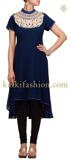 Buy it now http://www.kalkifashion.com/blue-kurti-with-french-knot-and-thread-work.html Blue kurti with french knot and thread work