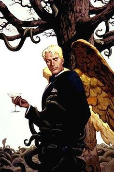 Lucifer (DC Comics) Cover based on likeness of David Bowie character Lucifer Morningstar first appeared in the dark fantasy, The Sandman April, 1989 issue. Dc Comics, Neil Gaiman, Demon Names List, Samael Angel, Comic Art, Comic Books, Vertigo Comics, Demonology, Atheism