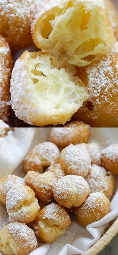 Soft, puffy, pillowy and crazy delicious beignets that transports you to New Orleans. Easy homemade beignets recipe with a choux pastry batt. Easy Pastry Recipes, Donut Recipes, Baking Recipes, Pastries Recipes, Sweet Desserts, Easy Desserts, Delicious Desserts, Dessert Recipes, Homemade Pastries