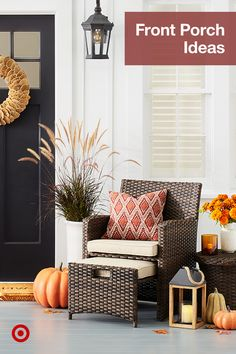 Welcome fall with front porch decor ideas like furniture, wreaths, lanterns, pumpkins & outdoor pillows. Fall Home Decor, Autumn Home, Diy Home Decor, Front Door Decor, Front Porch, Front Doors, Durham, Ohio, Decks And Porches
