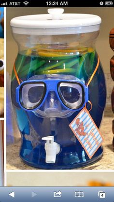 Blue Kool-aide with scuba mask. Underwater Party, Hawaiian Punch, Blue Hawaiian, Finding Nemo, Shark Party, 4th Birthday Parties, 3rd Birthday, Birthday Ideas, Submerged Vbs Snacks