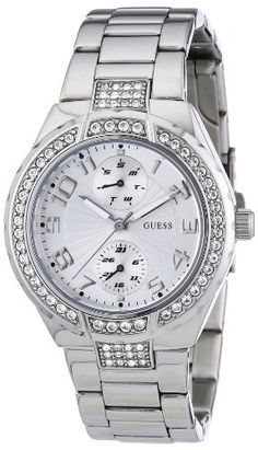GUESS Womens W12609L1 Steel Stainless Steel Crystal Accent Watch * Visit the image link more details.