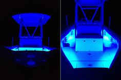 LED Boat Lighting  WFLB waterproof flexible light bars give this boat a beautiful blue glow.