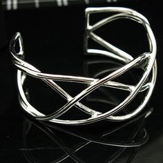 Women Silver Wire Design Cuff Bracelet Bangle 925 Silver Plate