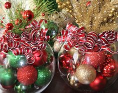 Christmas Centerpiece Centerpieces, Candy Cane Striped Christmas, Holiday Decoration, Snowball, Winter Centerpiece, Winter Home Decor  One
