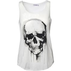 Innocent Skull Sleeveless Top (Off White) ($13) ❤ liked on Polyvore featuring tops, shirts, skull tank, sleeveless tank, skull top, off white tank top and sleeveless tank tops
