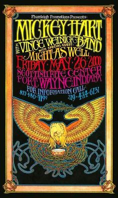 Handbill Mickey Hart with Vince Welnick Band 2000 Ft. Hippie Posters, Rock Posters, Band Posters, Vintage Concert Posters, Vintage Posters, Mickey Hart, Hippie Trippy, Black Light Posters, Poster Pictures