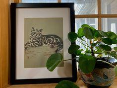 Framed Cat Picture, Vintage Book Illustration by Gladys Emerson Cook, x Frame Vintage Cat, Vintage Wall Art, Vintage Prints, Art Students League, Vintage Picture Frames, National Art, New York Art, Cat Drawing, Art Club