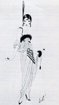 1913 - Paul Poiret evening robe drawn by Erte