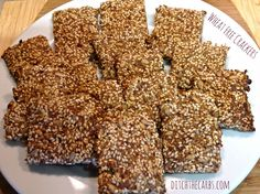 Wheat free crackers which are also grain free, gluten free and full of fibre and nutrients. Sign up at ditchthecarbs.com for more low carb, wheat free, primal, paleo recipes.
