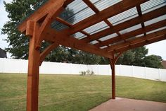 Polycarbonate Porch Roof | Free standing pergola with polycarbonate roof panels to keep out the ...